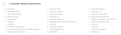 related terms for Yosemite